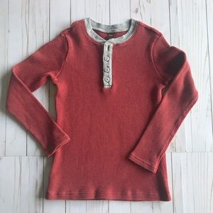 Tea Collection Thermal Henley Rustic Red Size 10